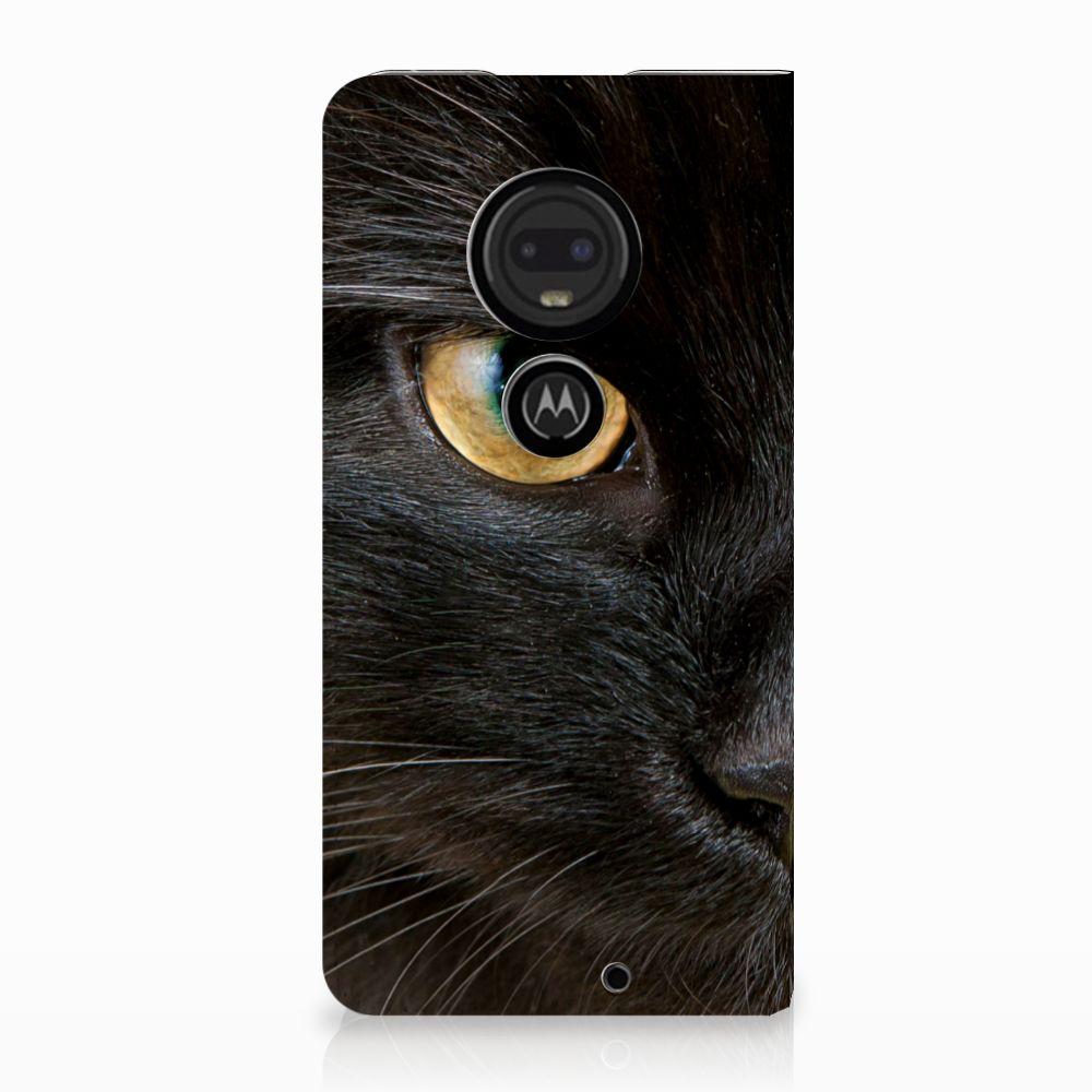 Motorola Moto G7 | G7 Plus Uniek Standcase Hoesje Zwarte Kat
