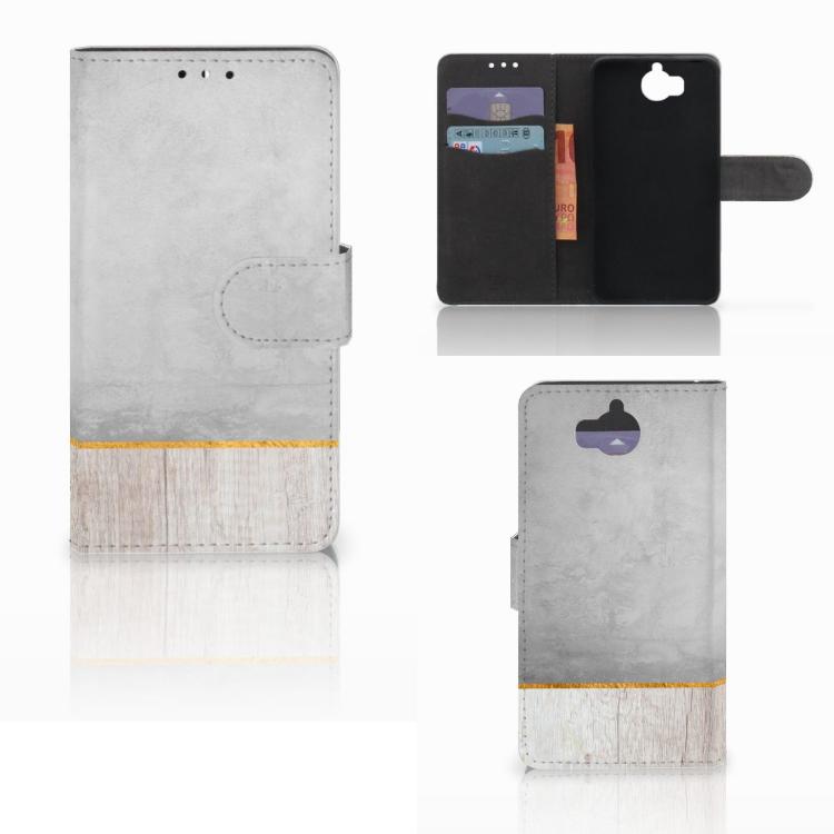 Huawei Y5 | Y6 2017 Book Style Case Wood Concrete