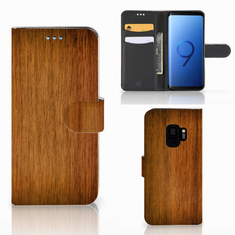 Samsung Galaxy S9 Book Style Case Donker Hout