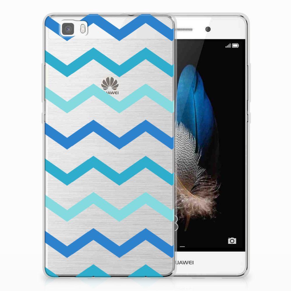 Huawei Ascend P8 Lite Uniek TPU Hoesje Zigzag Blauw