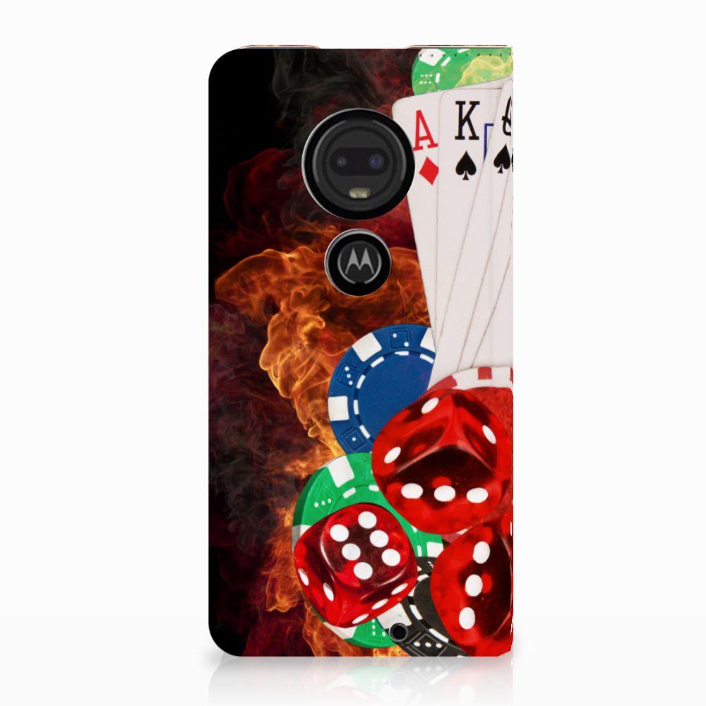 Motorola Moto G7 | G7 Plus Uniek Standcase Hoesje Casino