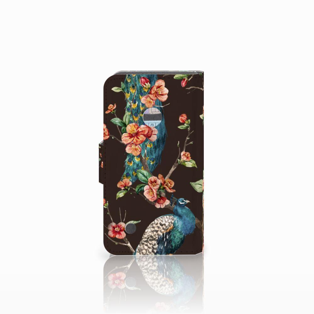 Nokia Lumia 530 Telefoonhoesje met Pasjes Pauw met Bloemen