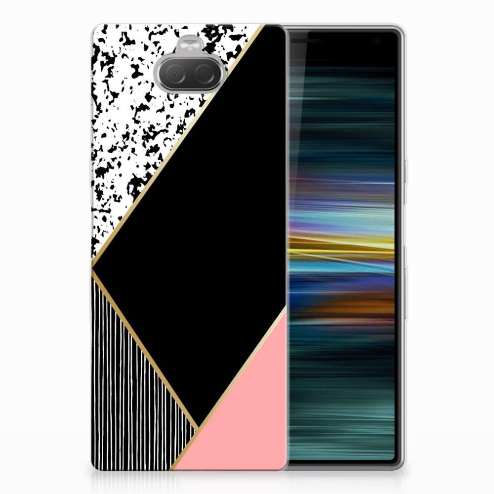 Sony Xperia 10 Plus TPU Hoesje Zwart Roze Vormen