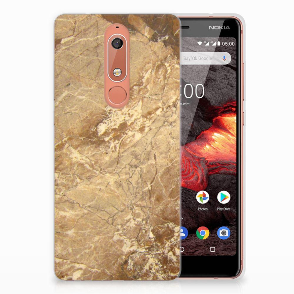 Nokia 5.1 (2018) TPU Siliconen Hoesje Marmer Creme
