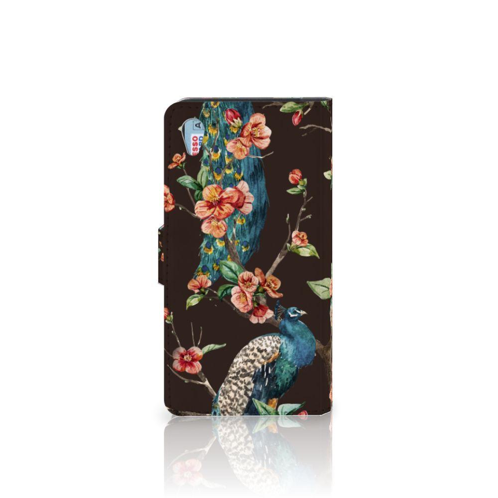 Sony Xperia Z3 Telefoonhoesje met Pasjes Pauw met Bloemen