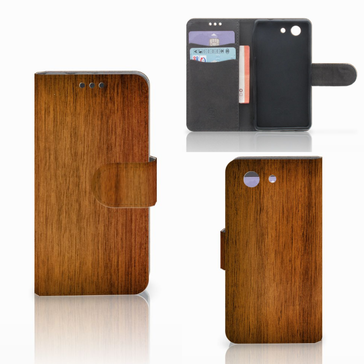 Sony Xperia Z3 Compact Book Style Case Donker Hout
