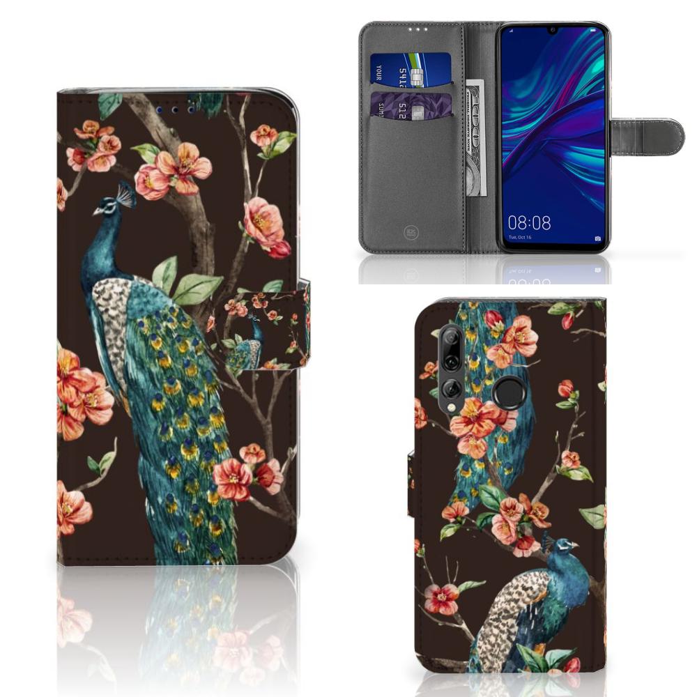 Huawei P Smart 2019 Telefoonhoesje met Pasjes Pauw met Bloemen
