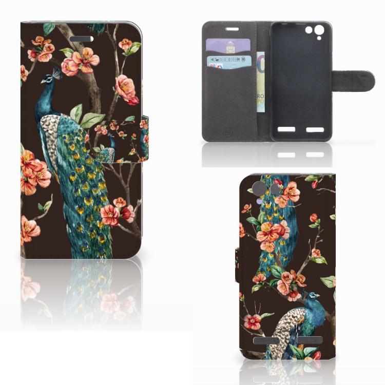 Lenovo Vibe K5 Telefoonhoesje met Pasjes Pauw met Bloemen
