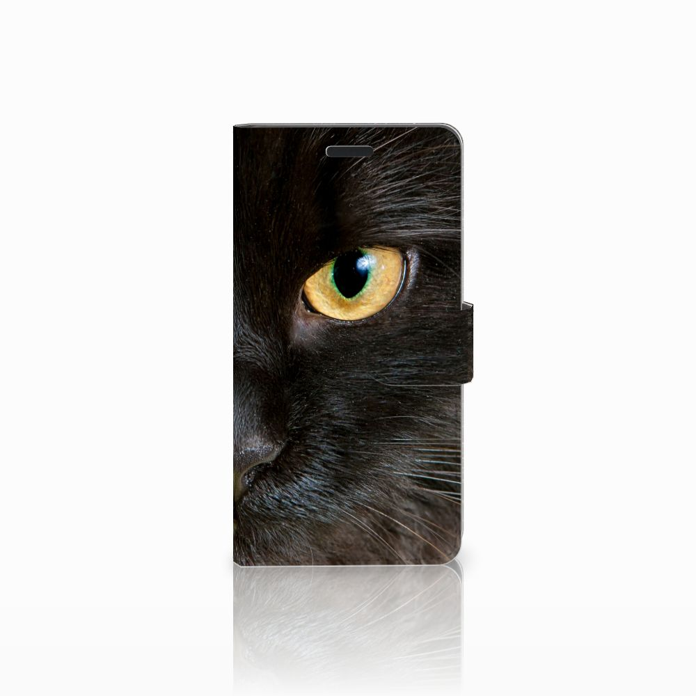 Samsung Galaxy A7 2015 Uniek Boekhoesje Zwarte Kat