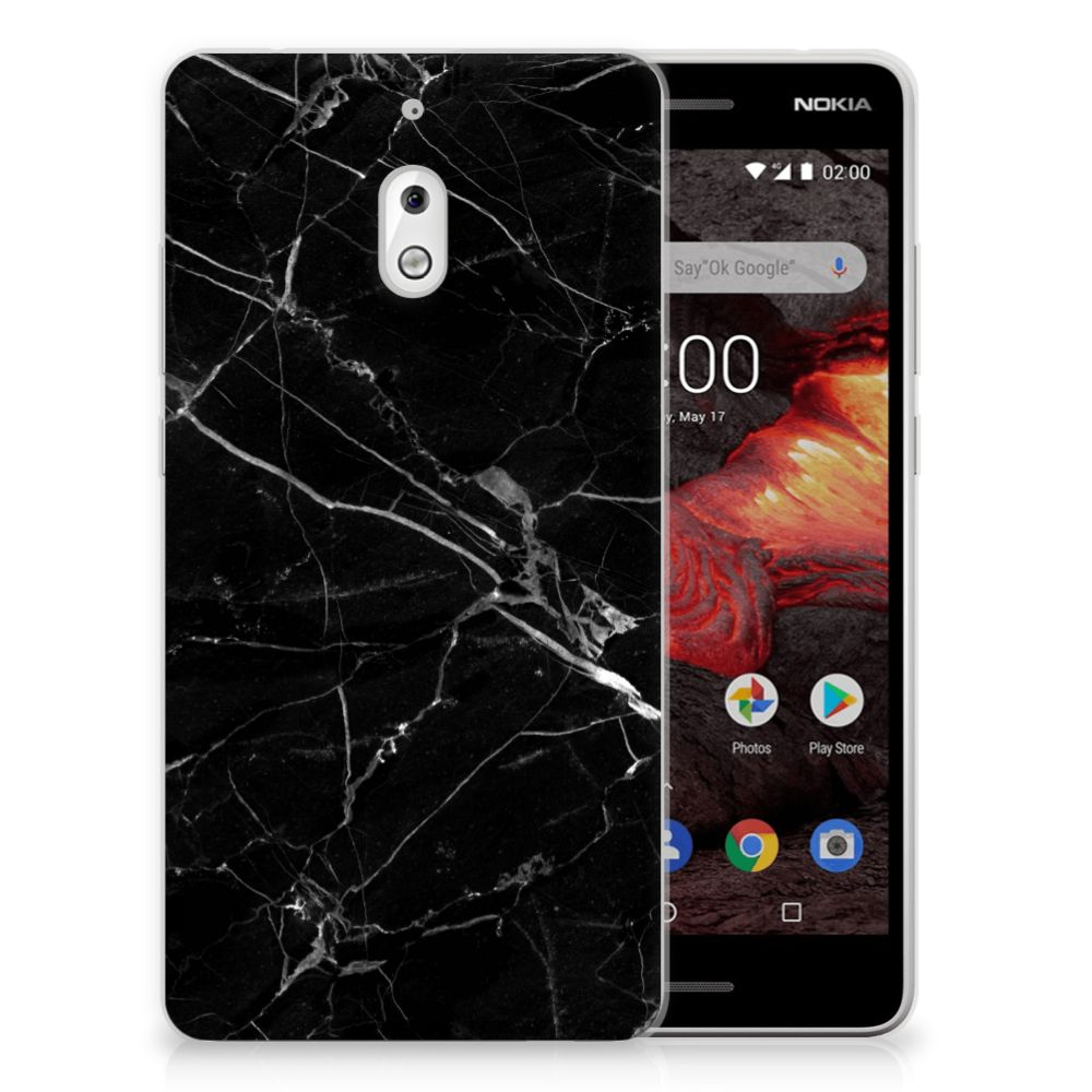 Nokia 2.1 (2018) TPU Siliconen Hoesje Marmer Zwart