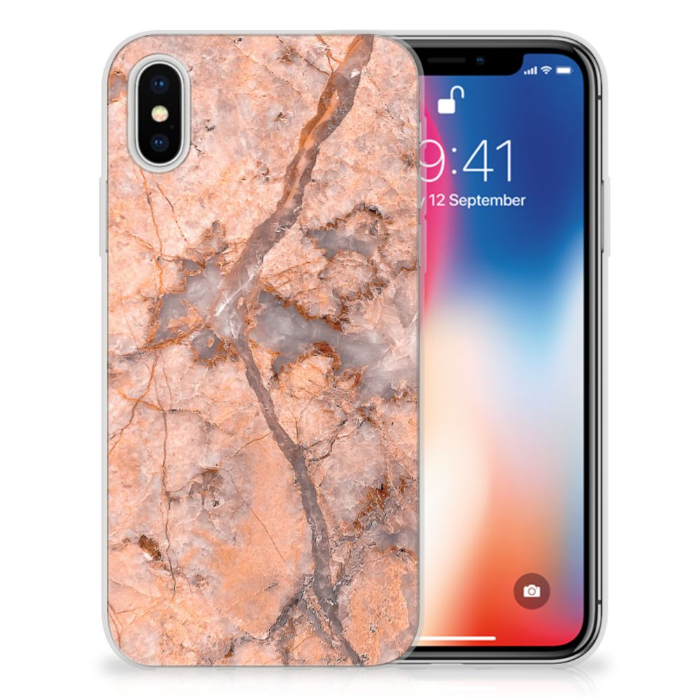 Apple iPhone X | Xs TPU Siliconen Hoesje Marmer Oranje