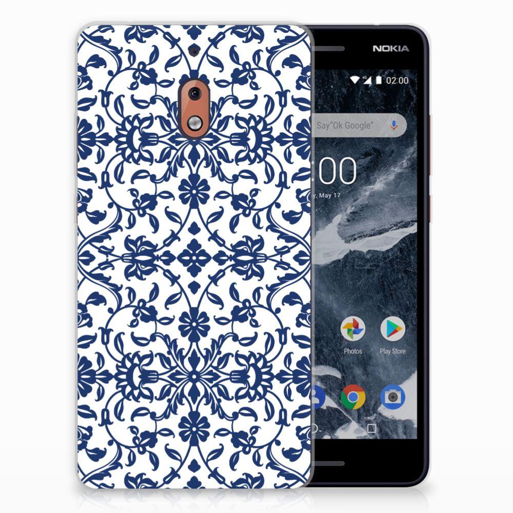 Nokia 2.1 (2018) TPU Hoesje Flower Blue