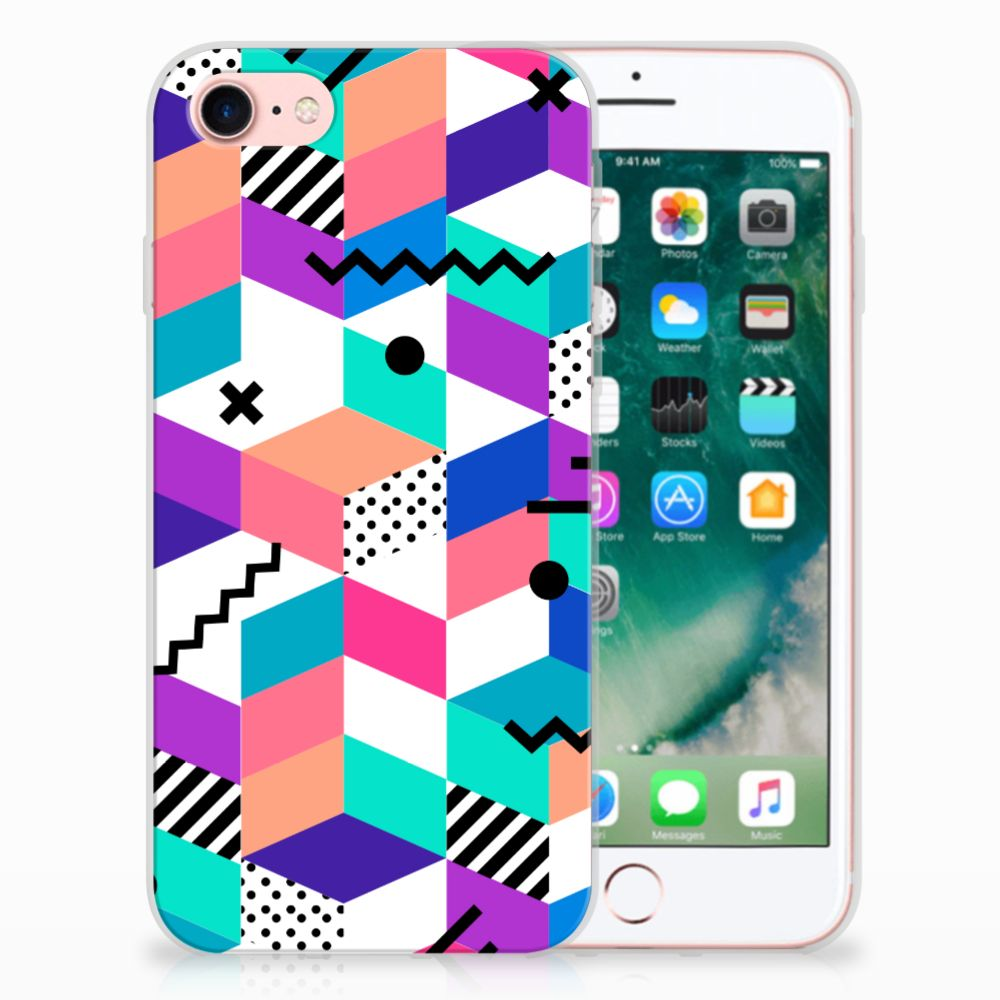 Apple iPhone 7 | 8 TPU Hoesje Design Blocks Colorful