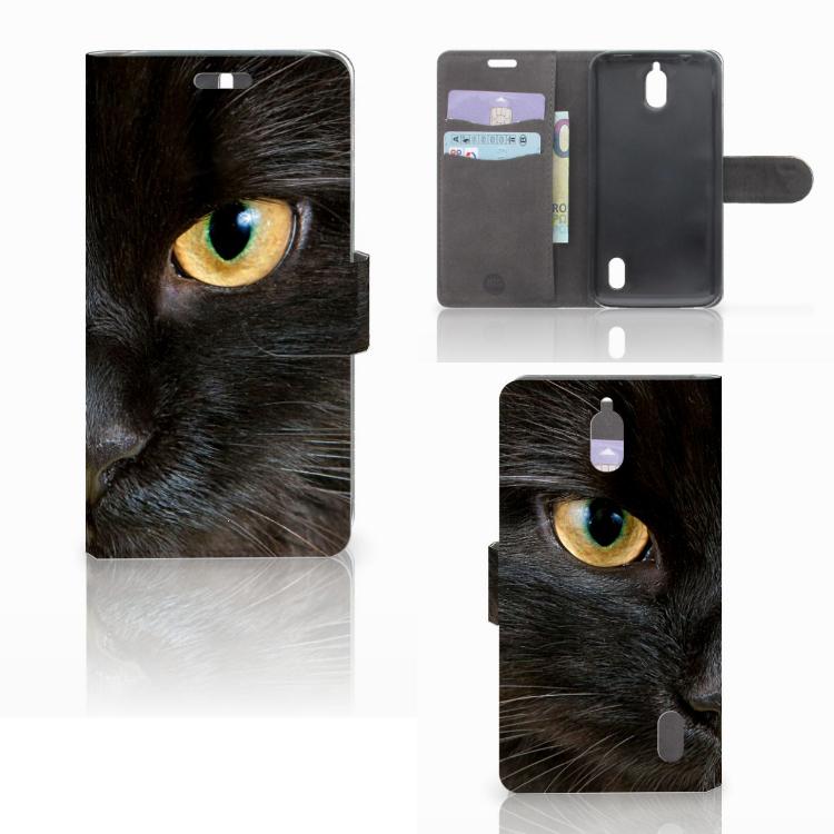 Huawei Y625 Telefoonhoesje met Pasjes Zwarte Kat