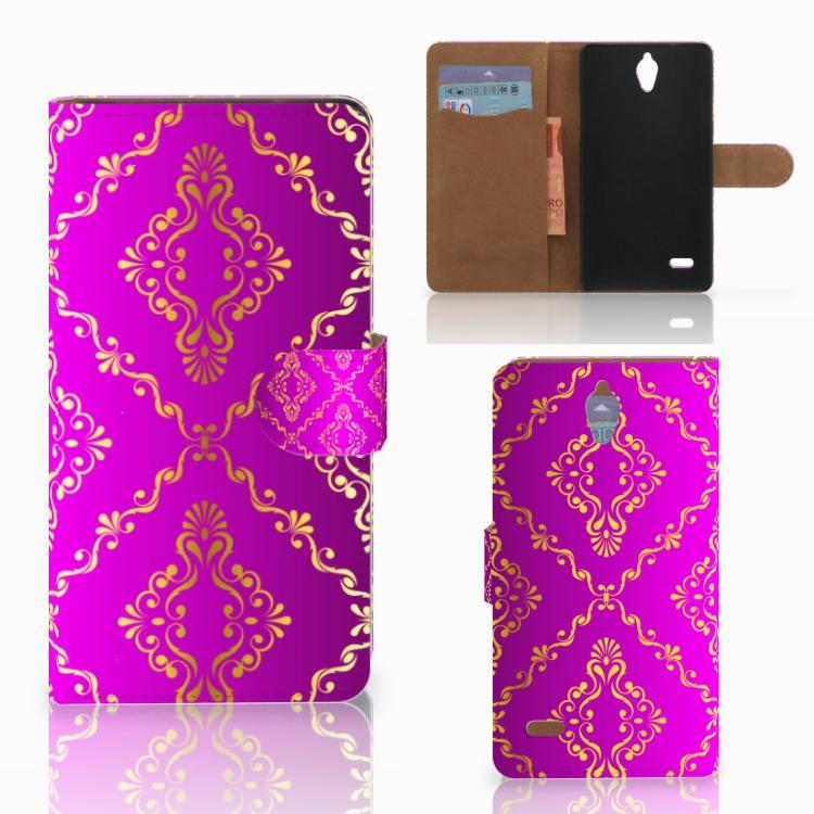 Wallet Case Huawei Ascend G700 Barok Roze