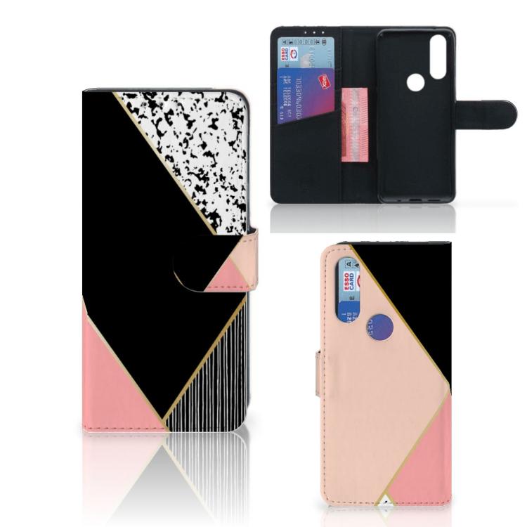 Motorola One Action Bookcase Zwart Roze Vormen
