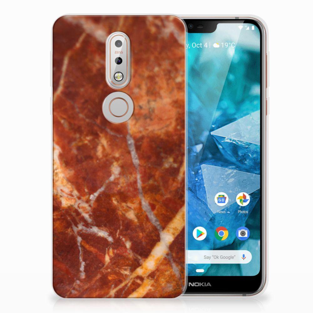 Nokia 7.1 TPU Hoesje Design Marmer Bruin