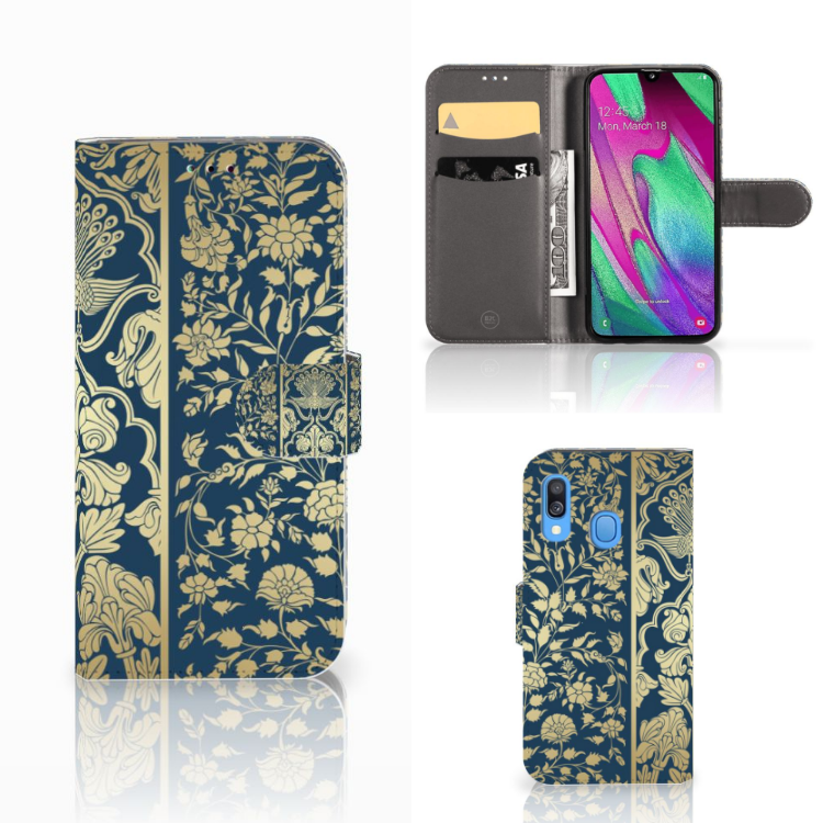 Samsung Galaxy A40 Hoesje Golden Flowers