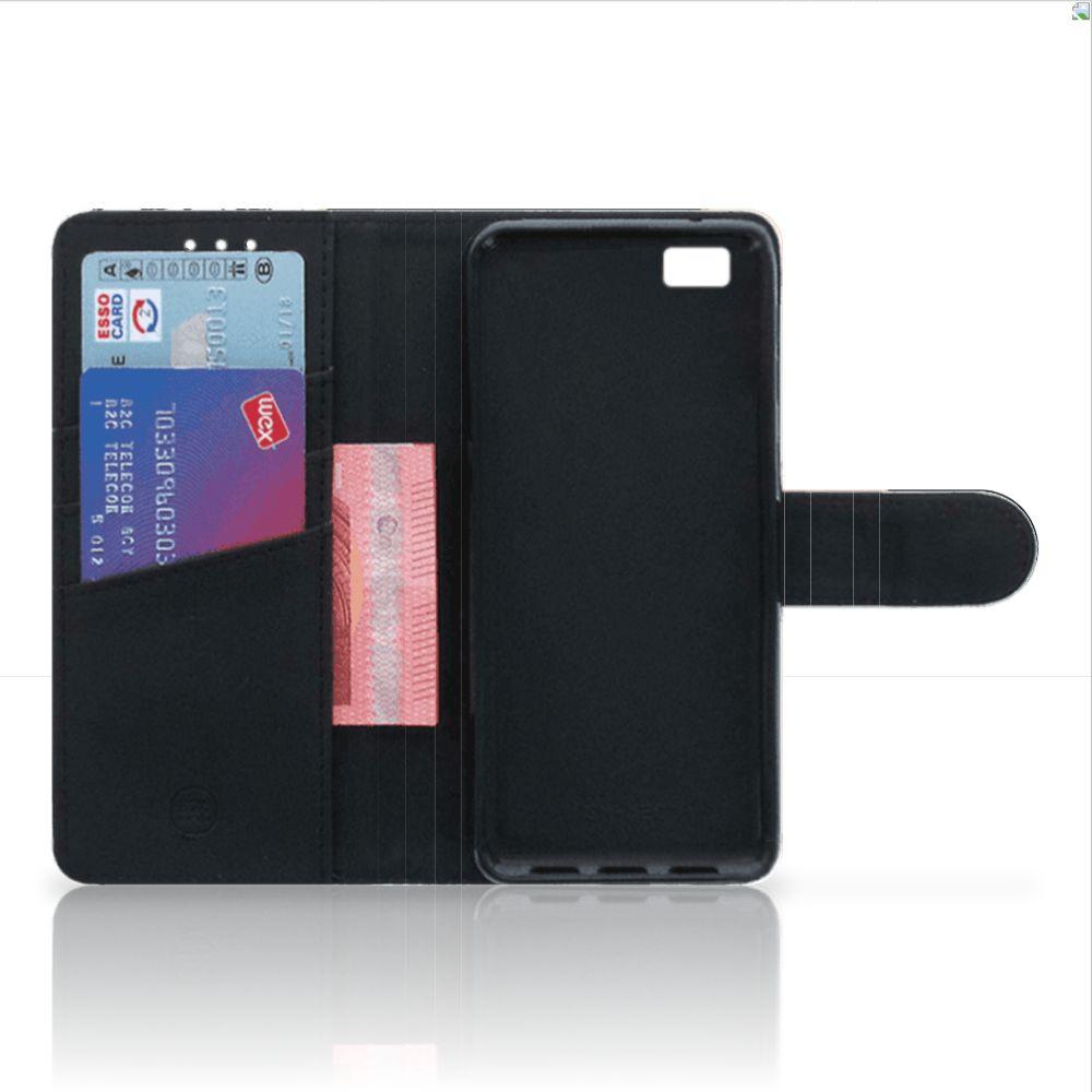 Huawei Ascend P8 Lite Uniek Boekhoesje Black Pink Shapes