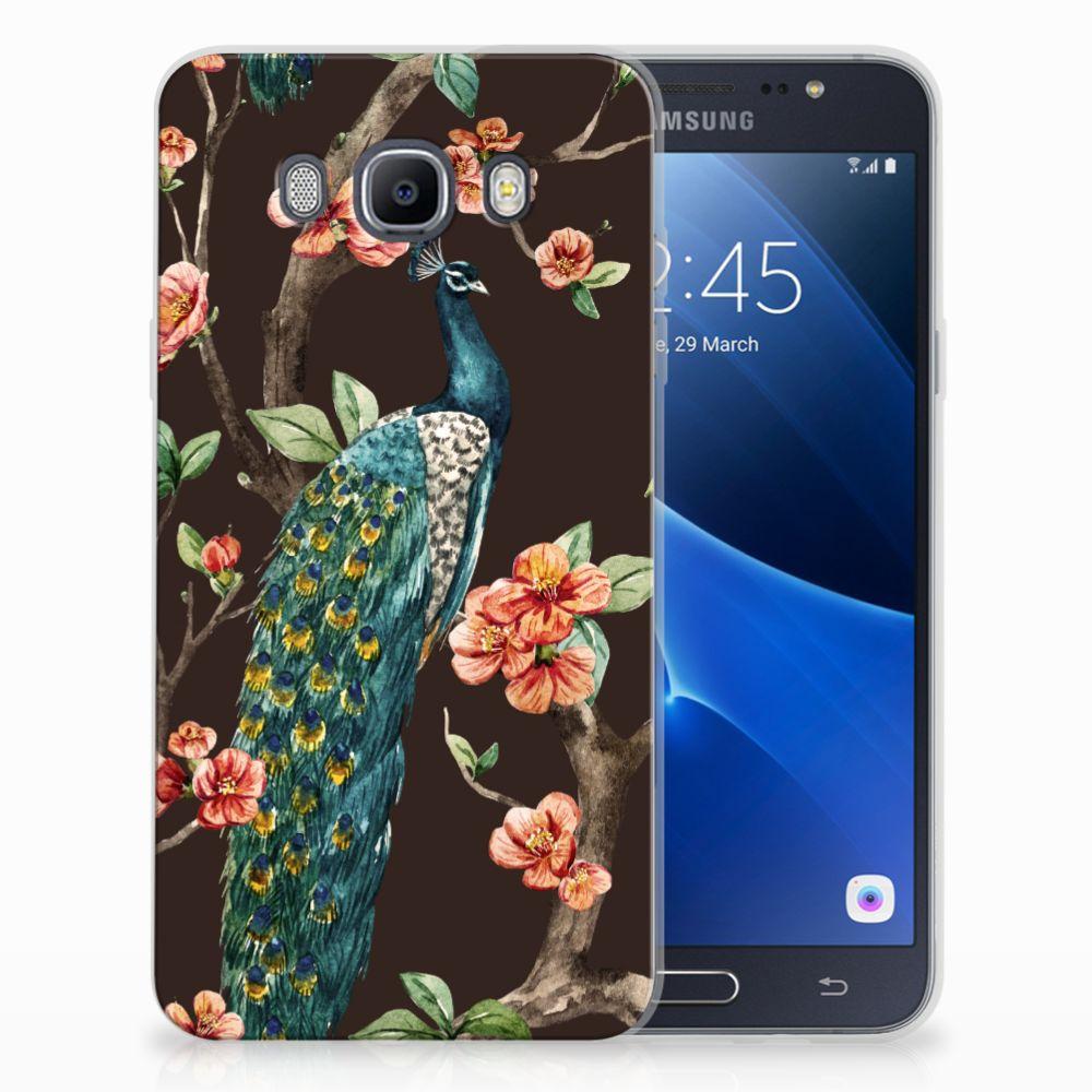 Samsung Galaxy J7 2016 TPU Hoesje Pauw met Bloemen