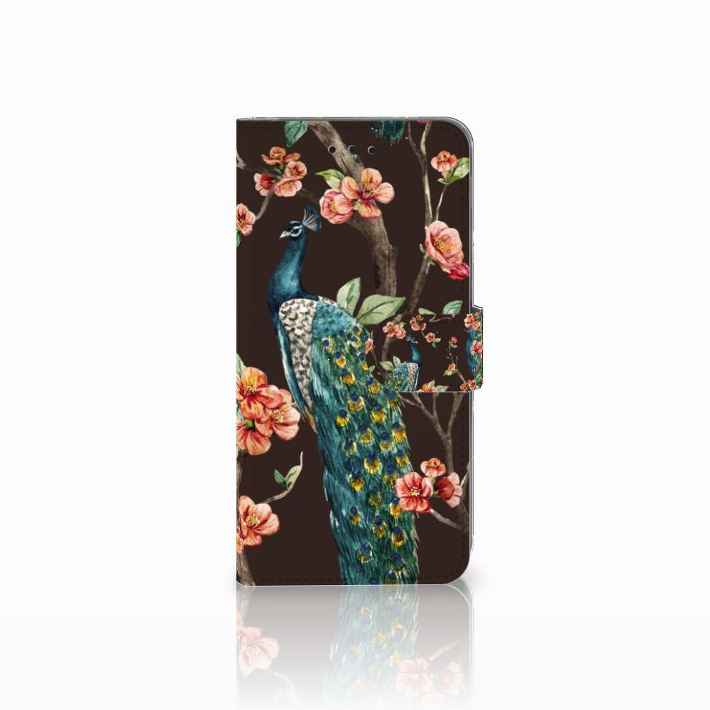 Samsung Galaxy A6 Plus 2018 Boekhoesje Design Pauw met Bloemen