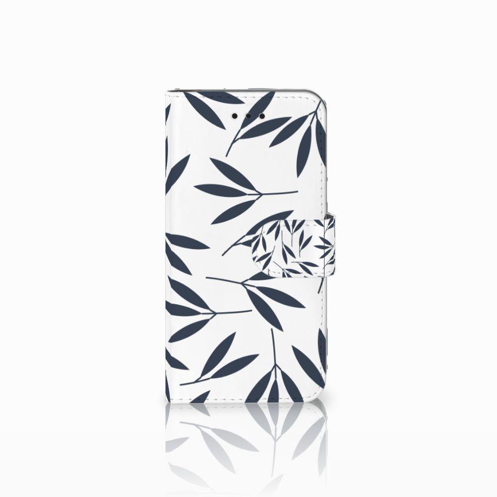Apple iPhone X | Xs Boekhoesje Design Leaves Blue