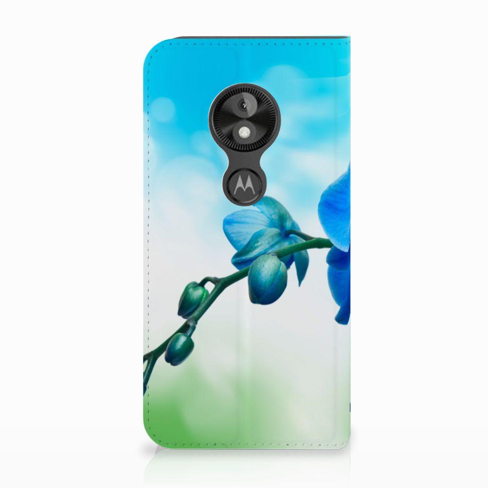 Motorola Moto E5 Play Standcase Hoesje Design Orchidee Blauw