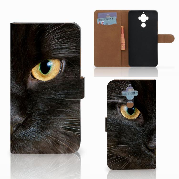 Huawei Mate 9 Telefoonhoesje met Pasjes Zwarte Kat