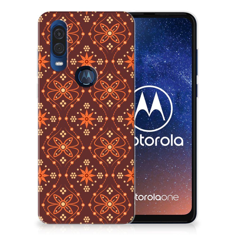 Motorola One Vision TPU bumper Batik Brown