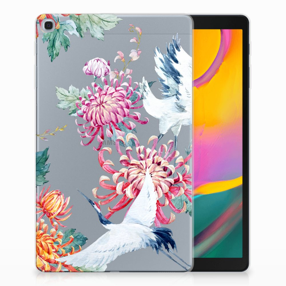 Samsung Galaxy Tab A 10.1 (2019) Uniek Tablethoesje Bird Flowers