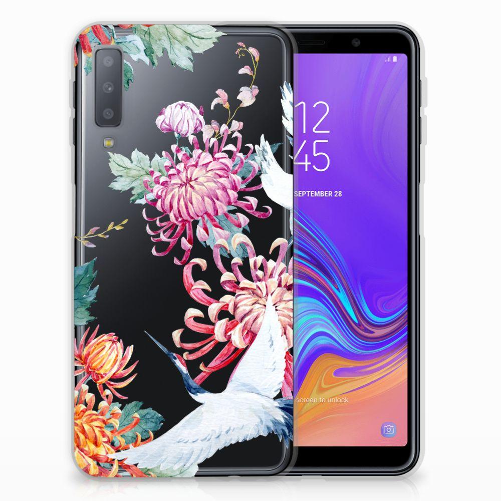 Samsung Galaxy A7 (2018) TPU Hoesje Bird Flowers