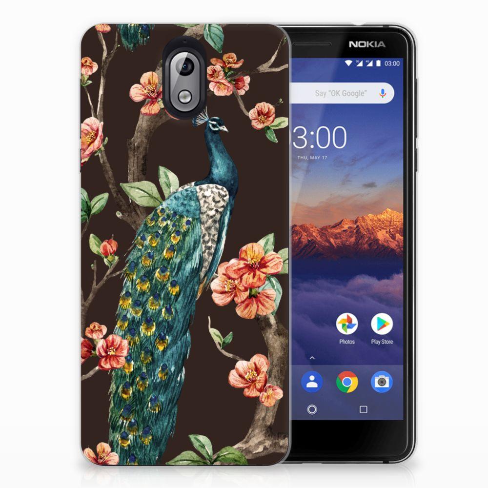 Nokia 3.1 (2018) TPU Hoesje Pauw met Bloemen