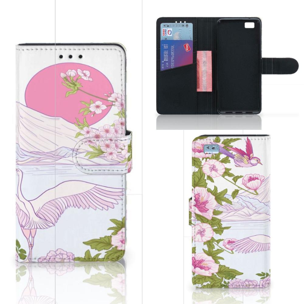 Huawei Ascend P8 Lite Telefoonhoesje met Pasjes Bird Standing
