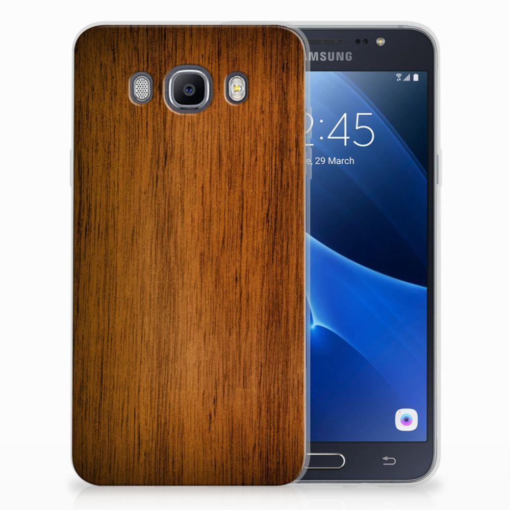 Samsung Galaxy J7 2016 Uniek TPU Hoesje Donker Hout