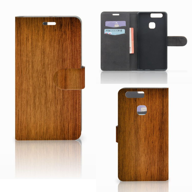 Huawei P9 Plus Book Style Case Donker Hout