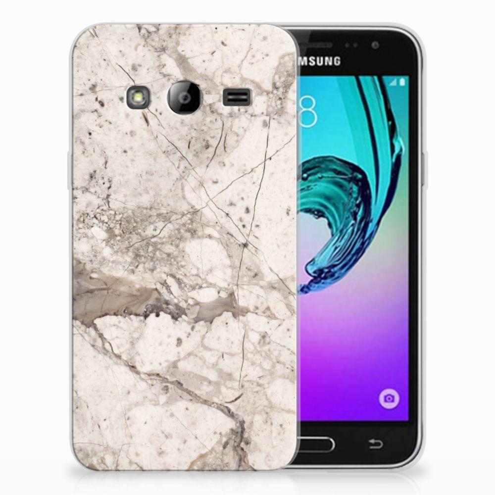 Samsung Galaxy J3 2016 TPU Siliconen Hoesje Marmer Beige