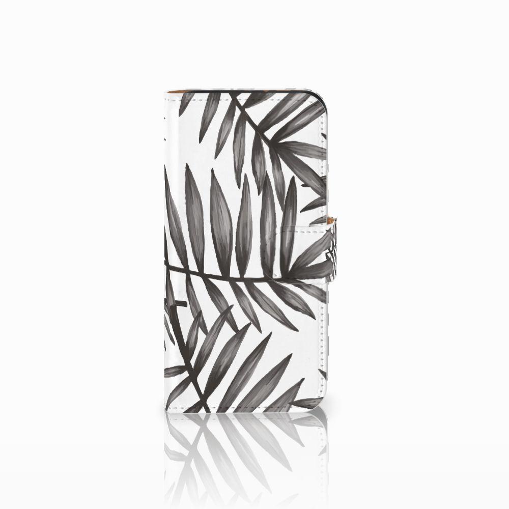 HTC One Mini 2 Uniek Boekhoesje Leaves Grey