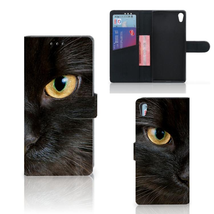 Sony Xperia XA1 Ultra Telefoonhoesje met Pasjes Zwarte Kat