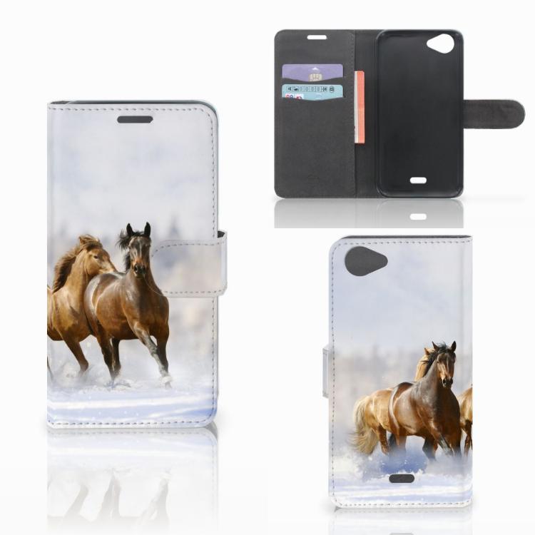 Wiko Rainbow Jam Telefoonhoesje met Pasjes Paarden