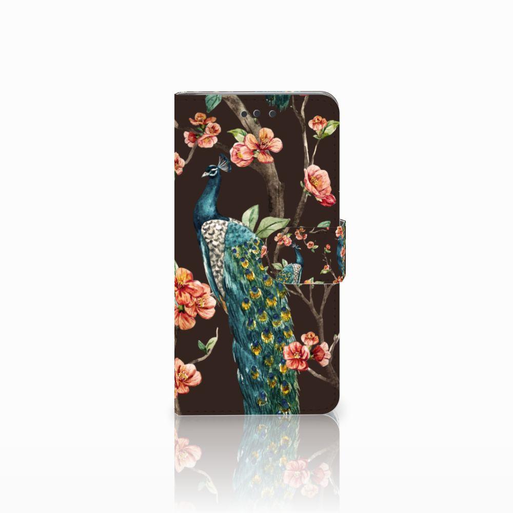 HTC U Play Boekhoesje Design Pauw met Bloemen