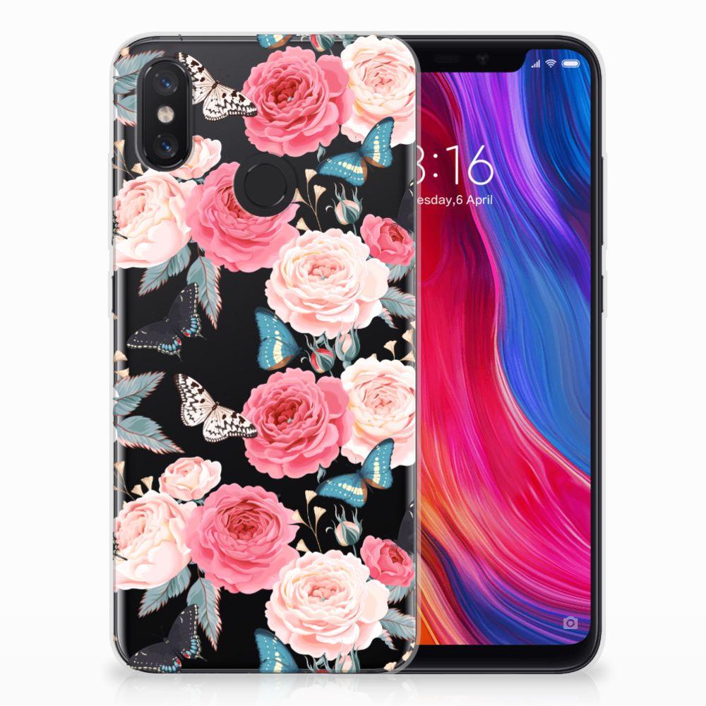Xiaomi Mi 8 Uniek TPU Hoesje Butterfly Roses