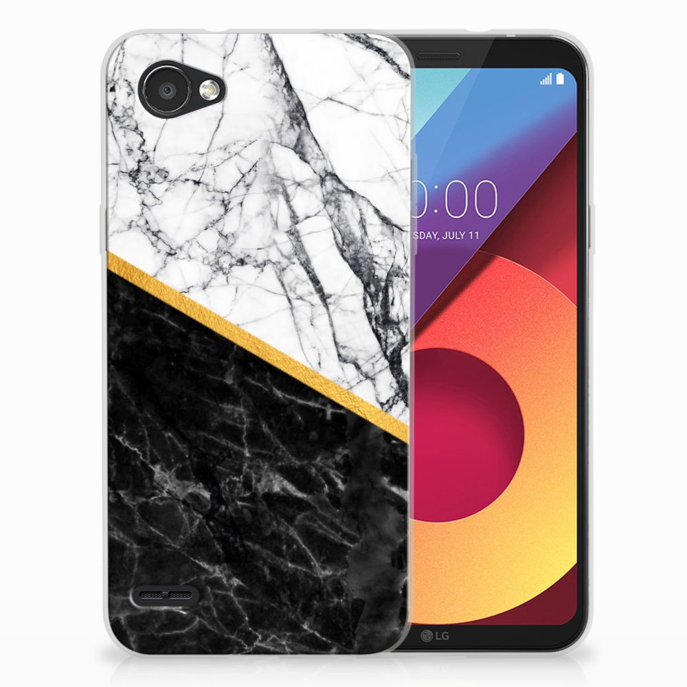 LG Q6 | LG Q6 Plus Uniek TPU Hoesje Marble White Black