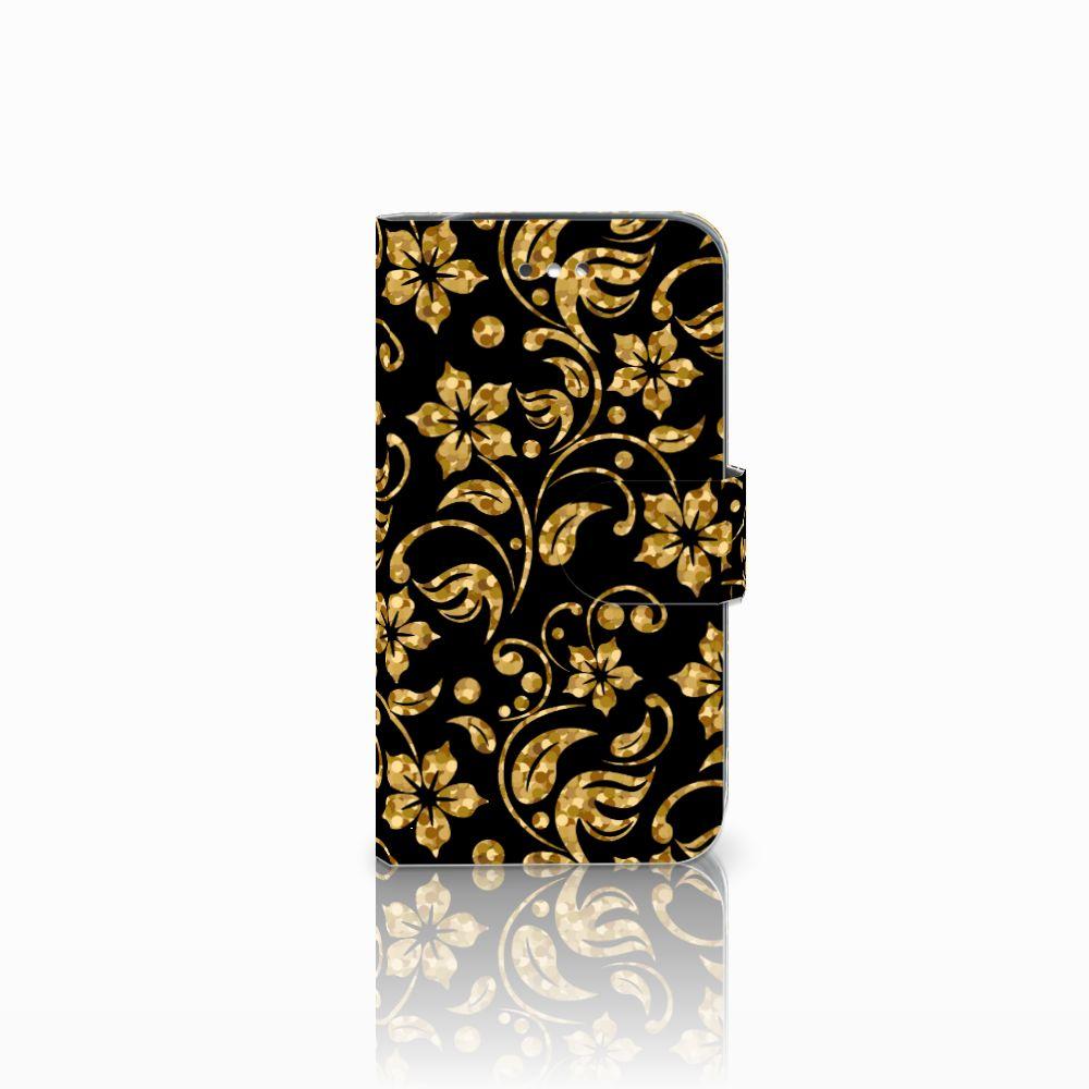 Samsung Galaxy S4 Boekhoesje Design Gouden Bloemen