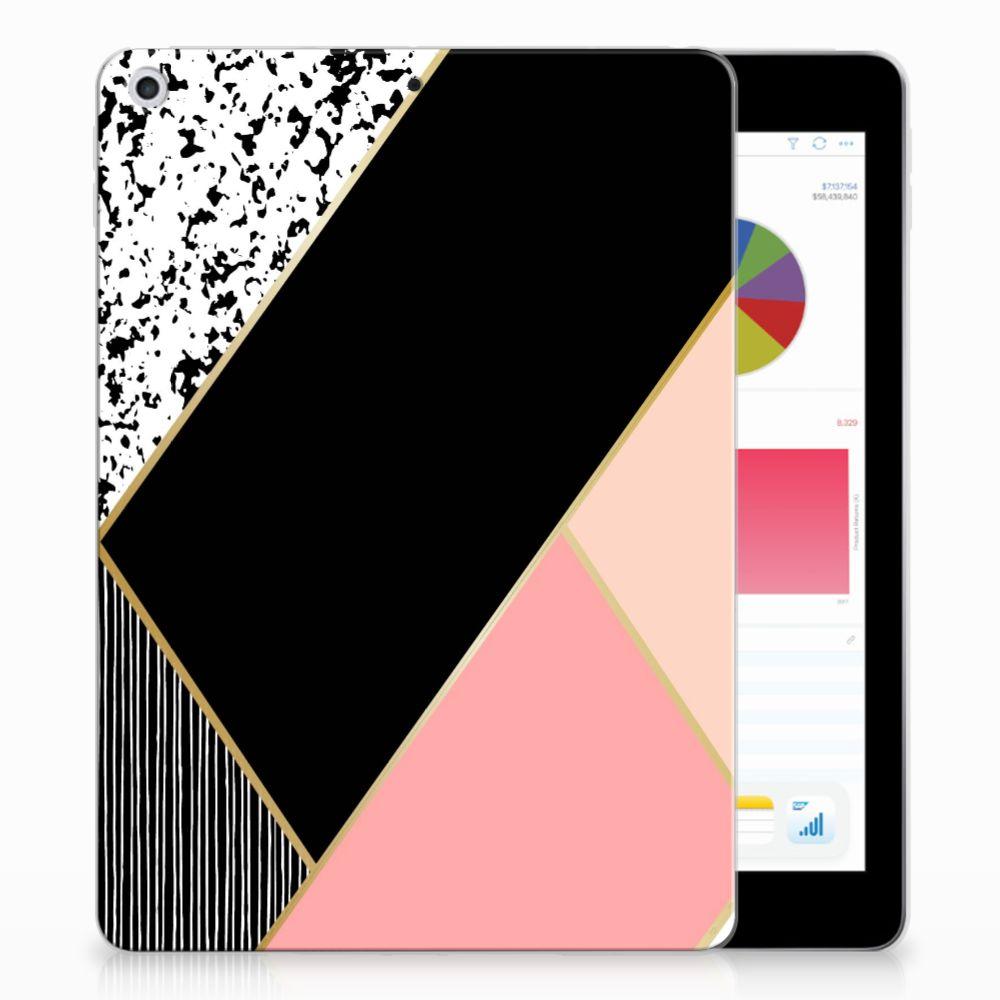 Apple iPad 9.7 2018 | 2017 Back Cover Zwart Roze Vormen