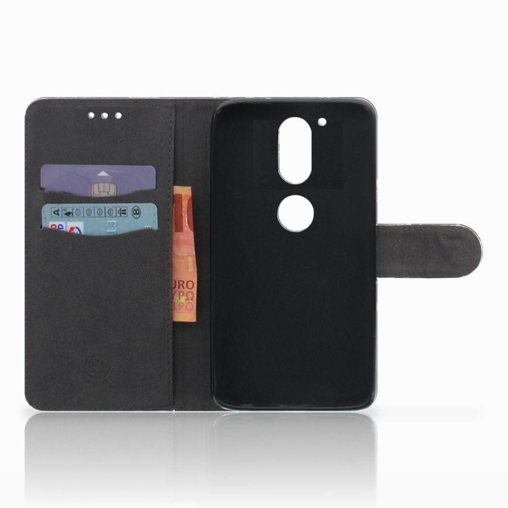 Motorola Moto G4 | G4 Plus Telefoonhoesje met Pasjes Pauw met Bloemen