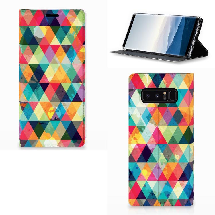 Samsung Galaxy Note 8 Hoesje met Magneet Geruit