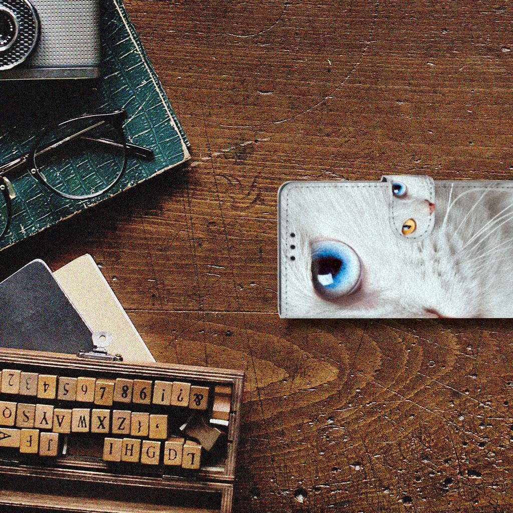 Sony Xperia Z5 | Z5 Dual Telefoonhoesje met Pasjes Witte Kat