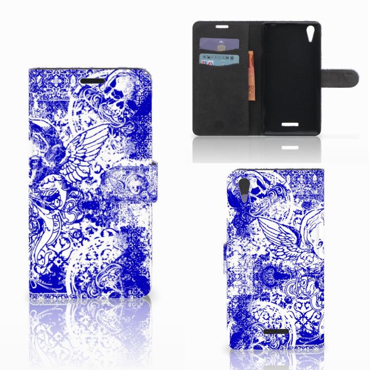 Telefoonhoesje met Naam Sony Xperia T3 Angel Skull Blauw