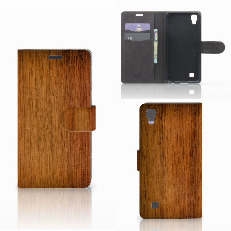 LG X Power Book Style Case Donker Hout
