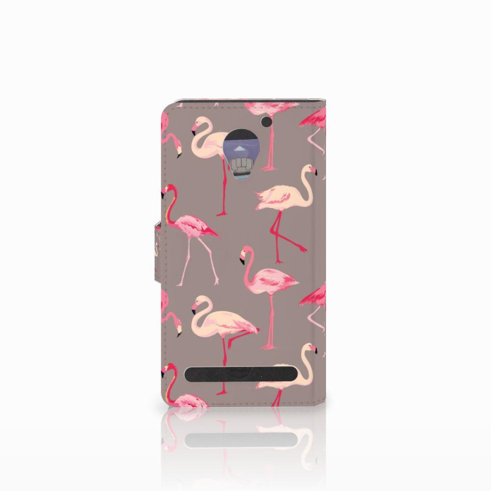 Lenovo C2 Power Telefoonhoesje met Pasjes Flamingo